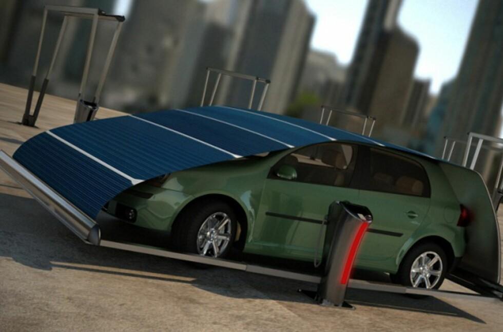 BERETNINGER OM BESKYTTELSE: Dette el-bil-konseptet skal både lade el-bilen, samtidig som det beskytter den - for eksempel mot fugledritt. Foto: Design Nobis