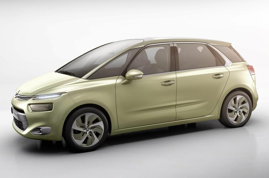 SLIK BLIR DEN: Vi aner en viss familielikhet med dagens Citroën C4 Picasso, og så vidt vi vet er det nettopp dennes etterfølger dette kommer til å bli. Men enn så lenge går denne skapningen altså under navnet Citroën Technospace. Foto: Citroën