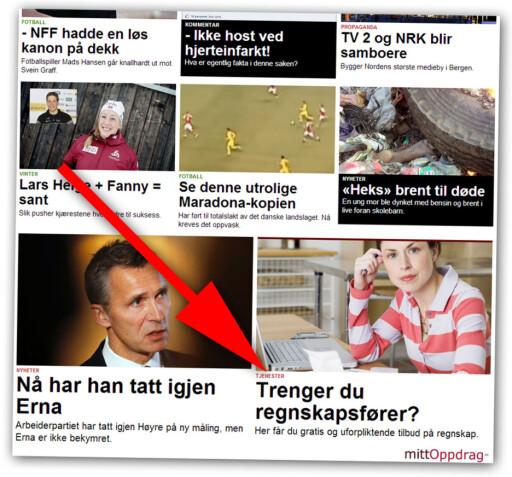 """TJENESTE: Nettavisen reklamerer for sine egne tjenester med reklameartikler som denne. De merkes """"tjeneste""""."""
