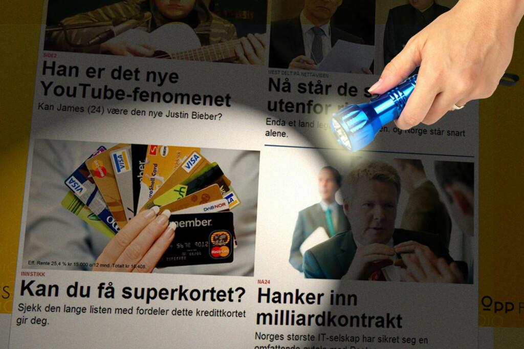 """FREM I LYSET: Av disse fire sakene er én en annonse. Det eneste hintet er ordet """"instikk"""" over overskriften. Forbrukerombudet vil ha slutt på denne praksisen.  Foto: Ole Petter Baugerød Stokke"""