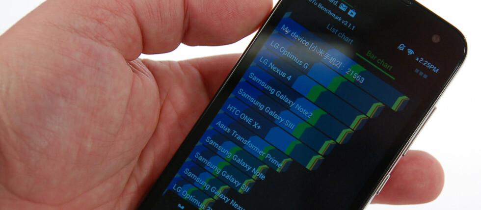 Til tross for en prislapp på bare 1800 kroner i Kina, er Xiaomi Mi2 markedets raskeste telefon.