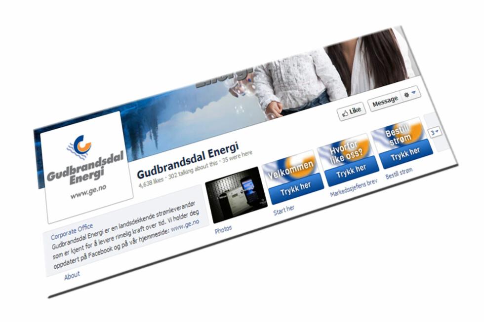 Gudbrandsdal Energi tilbyr nå strøm via Facebook.  Foto: Gudbrandsdal Energi
