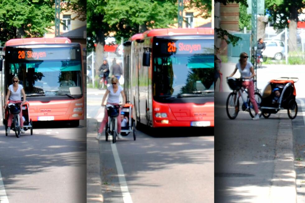 LOVLIG: Det er ikke nødvendigvis uproblematisk å sykle i kollektivfeltet, i alle fall ikke med et barn bak. Men det er fullt lovlig, både med og uten vogn.  Foto: Michael Wøhlk Jæger Sørensen