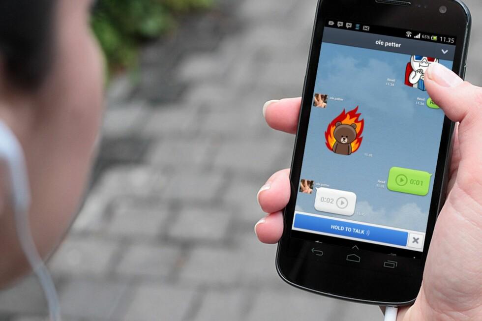 Med Line kan du sende meldinger, lyd, video etc. over internett.