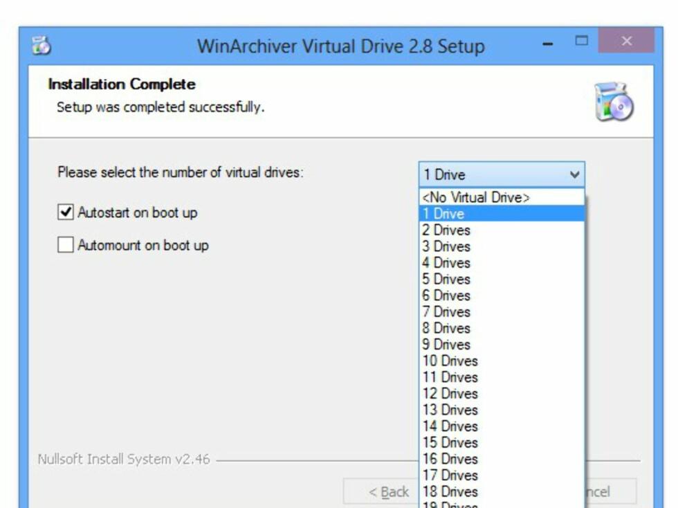 Under installasjonen får du spørsmål om hvor mange virtuelle stasjoner du ønsker deg. Slapp av, dette kan du endre på senere.