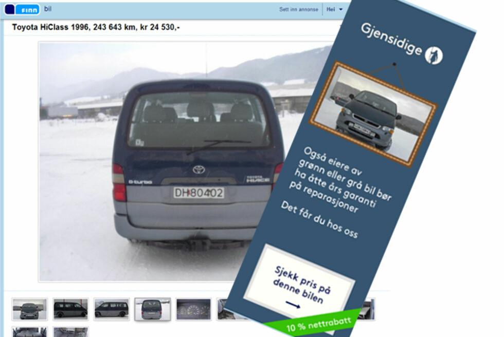 Gjensidige tilbyr garanti på reparasjoner, men ikke helt slik man får inntrykk av i annonsen deres. Foto: skjermdump