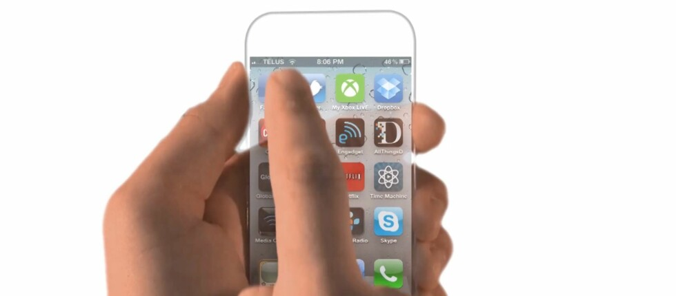 Kanskje det er slik neste iPhone blir seende ut? helt transparent. Sjekk ut konseptvideoene i denne saken. Foto: Csaba Nagy/YouTube