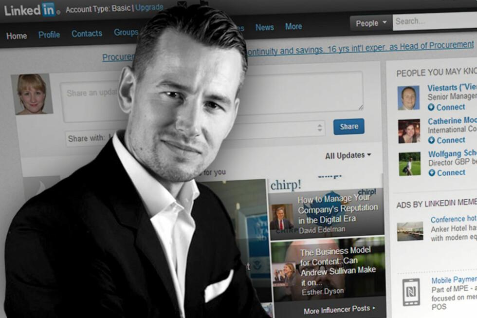 Erlend Emil Holmsen, hodejeger og daglig leder i Headhunt bruker LinkedIn for å finne interessante kandidater til stillingene han skal besette. Har du ikke profil her, er det kanskje på tide å få laget en.  Foto: Michal Tomaszewicz/Ole Petter Baugerød Stokke