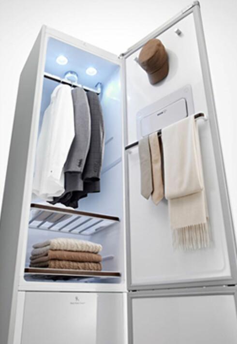 Du kan selvsagt rense flere klær på én gang: Her et par dressjakker og skjorter, ullgensre, slips og en hatt.  Foto: LG