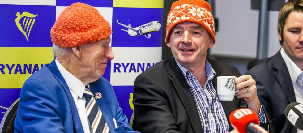Michael O'Leary, CEO i Ryanair, sier til DinSide at en innenriksbillett i Norge med Ryanair vil koste rundt 10 euro - tilsvarende 73 norske kroner. Her avbildet på en pressekonferanse i Oslo 8. januar 2013. Foto: Per Ervland