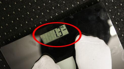 Vekten viser endring, etterfulgt av et pluss for vektøkning eller minus for vekktap. Du kan selv velge om du vil at vektendring skal vises i kilo (kg) eller pund (lb). Foto: Per Ervland
