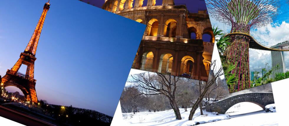 Fra venstre til høyre: Eiffeltårnet, Colosseum, Central Park og Gardens by the Bay. Foto: All Over Press/Colourbox.com