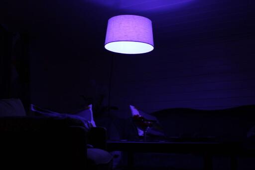 Blått lys i stua? Kanskje ikke i bruk så veldig ofte ... Foto: Kristin Sørdal