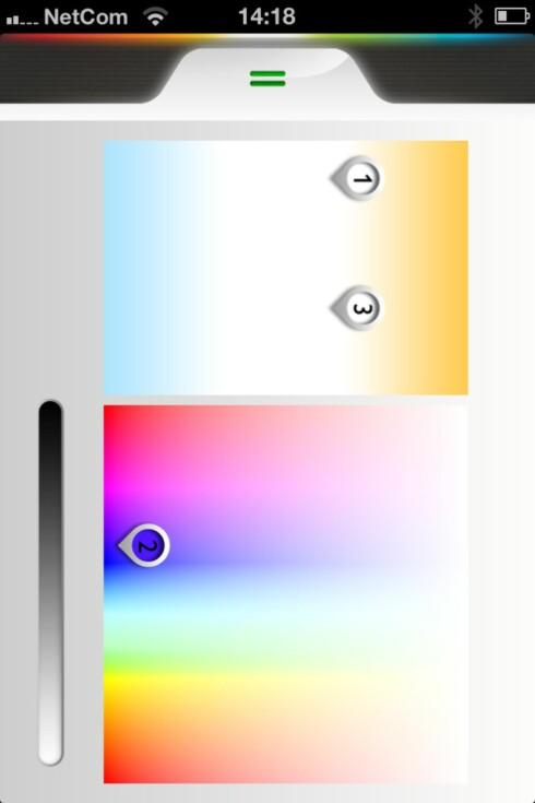 Du kan velge farger i fargekartet. Her kan du flytte de ulike lyspunktene rundt i fargekartet, og dermed endre fargene på de ulike lyspunktene etter eget ønske. Foto: Kristin Sørdal