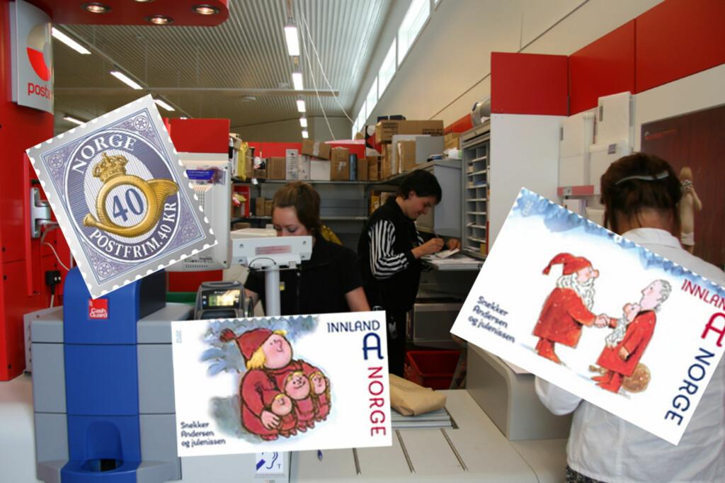 Ved enkelte post i butikk-avdelinger har kunder opplevd at det er tomt for frimerker, og sliter med å få avgårde juleposten. Foto: Posten Norge