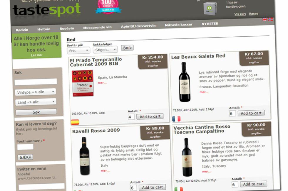 Tastespot.com: Varene blir presentert med bilde, informasjon og pris inkludert norske avgifter. Merk at mix-kassene kun viser prisen for vinen, og at avgiftene da legges på ved utsjekk. Det er litt forvirrende for brukeren at prisen kommuniseres ulikt.