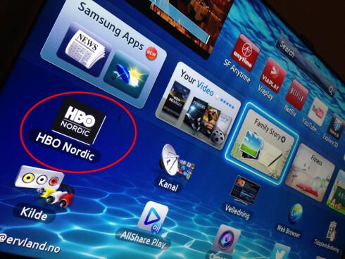 <strong>HEISANN:</strong> HBO Nordic-appen har dukket opp på Samsung-TV-er. Foto: Per Ervland