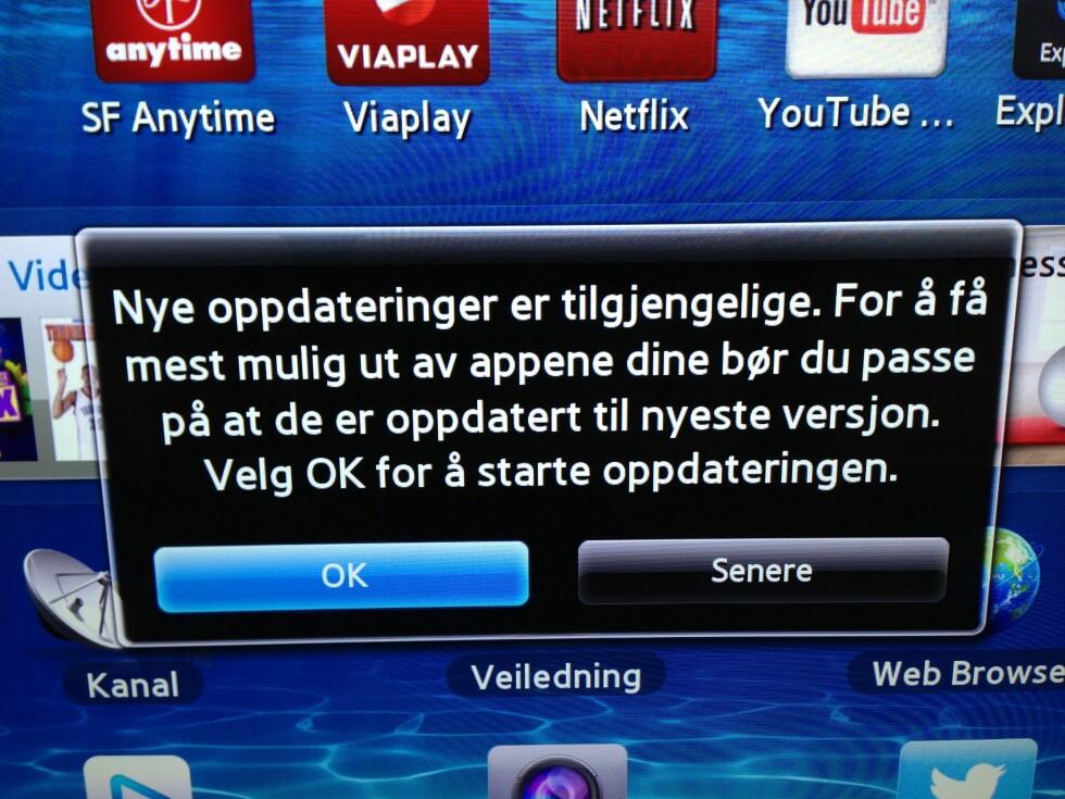 En stund etter at vi hadde installert den nye appen kom en ny oppdatering. Foto: Per Ervland