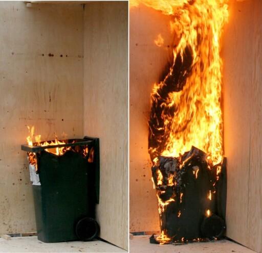 Så galt kan det gå, fra antenning av søppel på bildet til venstre - til situasjonen fire minutter etter ... Foto: SpareBank1