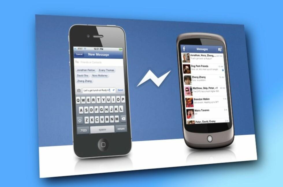 Facebook Messenger benyttes stadig oftere som erstatter for SMS. Snart trenger du ikke en gang være registrert Facebook-bruker for å benytte deg av den. Foto: DinSide.no