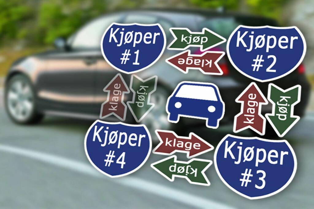 ÉN SALGSKJEDE: Selger du bilen din, blir du et salgsledd i en salgskjede. I vår sak oppdaget kjøper nummer fire en feil som kjøper nummer én senere måtte ta ansvaret for. Altså: Kan du følge salget bakover, kan du også ta klagen bakover.  Foto: Ole Petter Baugerød Stokke