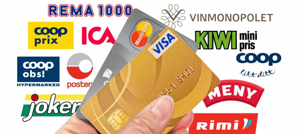 STADIG MER UTBREDT: Det er ikke så veldig lenge siden for eksempel dagligvarebutikkene ikke godtok kredittkort. Nå er det vanlig nesten over alt. Foto: Per Ervland (ill.)