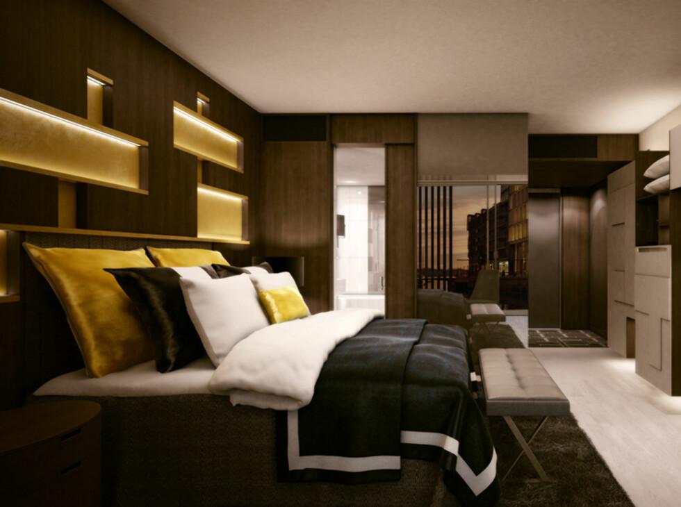 Innbydende og varmt i mørke brune toner: Slik vil Stordalens nye hotell på Tjuvholmen, The Thief, se ut.  Foto: AWW/The Thief