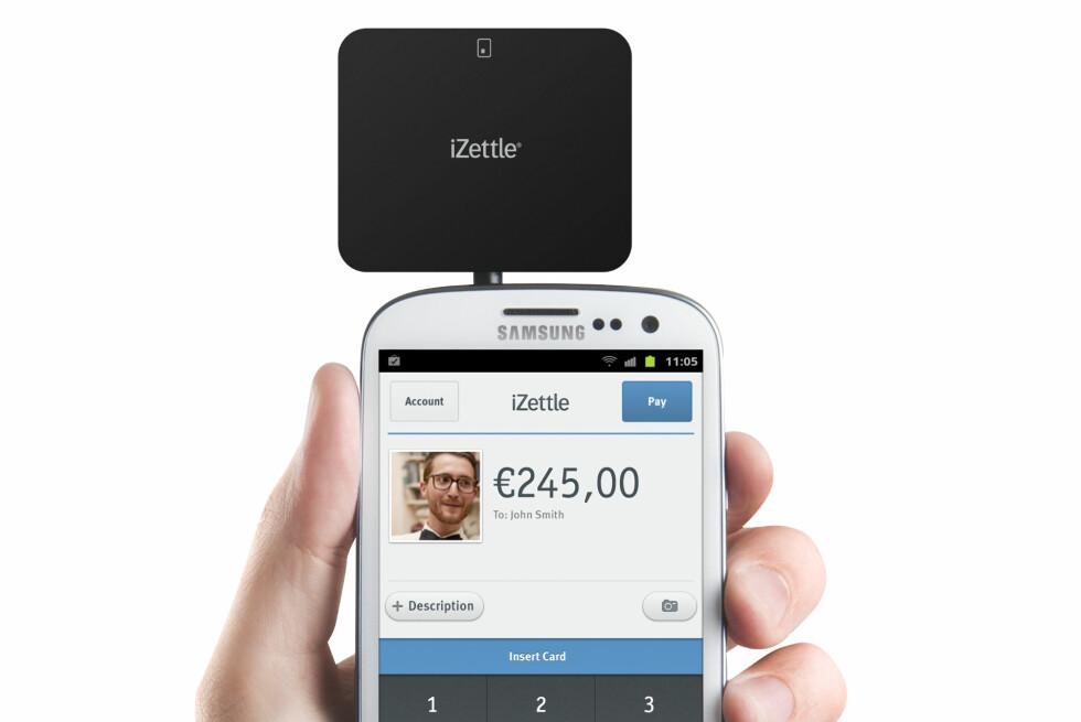 Med kortleseren fra iZettle, kan du ta betalt fra Visa, Mastercard og Diners-kort direkte på mobiltelefonen.
