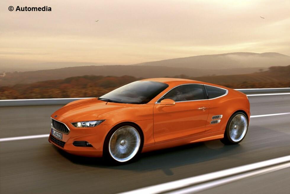 Automedia mener neste generasjon Ford Capri kan bli seende slik ut. Den vil i så fall være karakterisert av Evos- designretningen, som er en videreføring av Iosis-formspråket og som nye Ford Mondeo er første europeiske eksponent for. Foto: Automedia