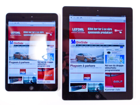 <strong><B>EN VISS FORSKJELL:</strong></B> iPad med retinaskjerm til høyre, iPad mini til venstre (men det tror vi du forsto).