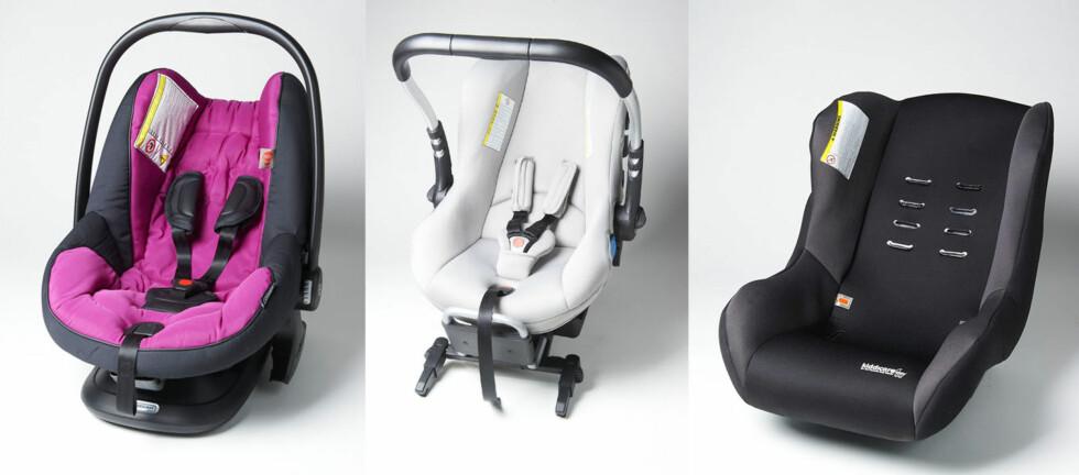 KJØP FRARÅDES: Disse bilstolene kommer så dårlig ut i test, at bilorganisasjonen FDM fraråder deg å kjøpe disse. Fra venstre: Bébécar, CasualPlay og Nania.