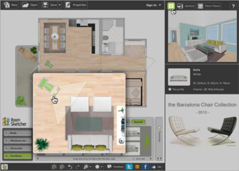Får du plass til sofaen din , eller spisebord til 12, i boligen du nettopp har sett på visning? Det sjekker du enkelt med boligplanleggeren.  Foto: RoomSketcher