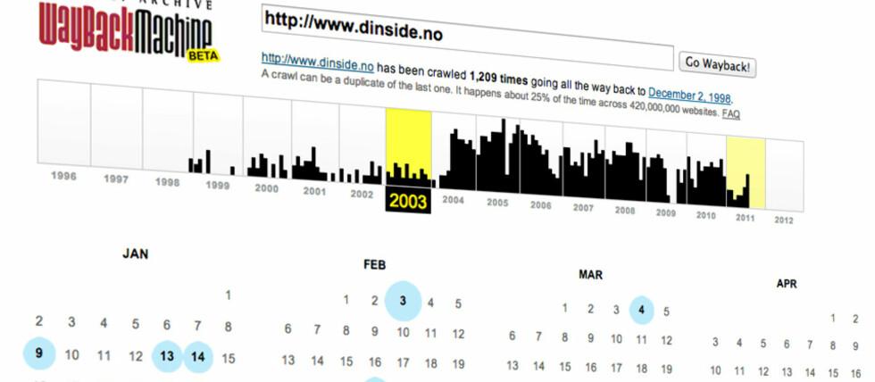 """Archive.orgs Wayback Machine har indeksert nettsider i en årrekke og lar deg """"spole tilbake""""."""