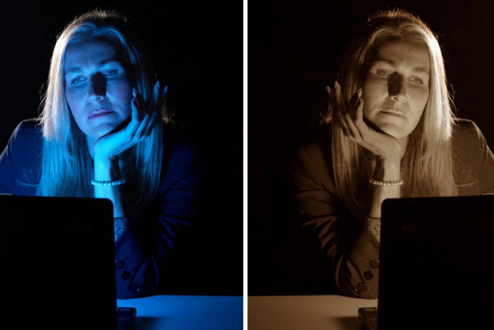 Det blå lyset fra PC-skjermen kan gjøre det vanskeligere å sove. Varmere temperatur på skjermen på kveldstid kan løse problemet.