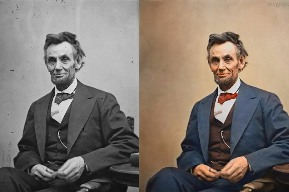 Det tar Sunniva Dullaway mellom 40 minutter og 3 timer å kolorere et historisk sort/hvitt-bilde. Nederst i denne saken kan du se hvordan hun jobbet seg gjennom dette bildet av Abraham Lincoln. Foto: Library of Congress/Sanna Dullaway