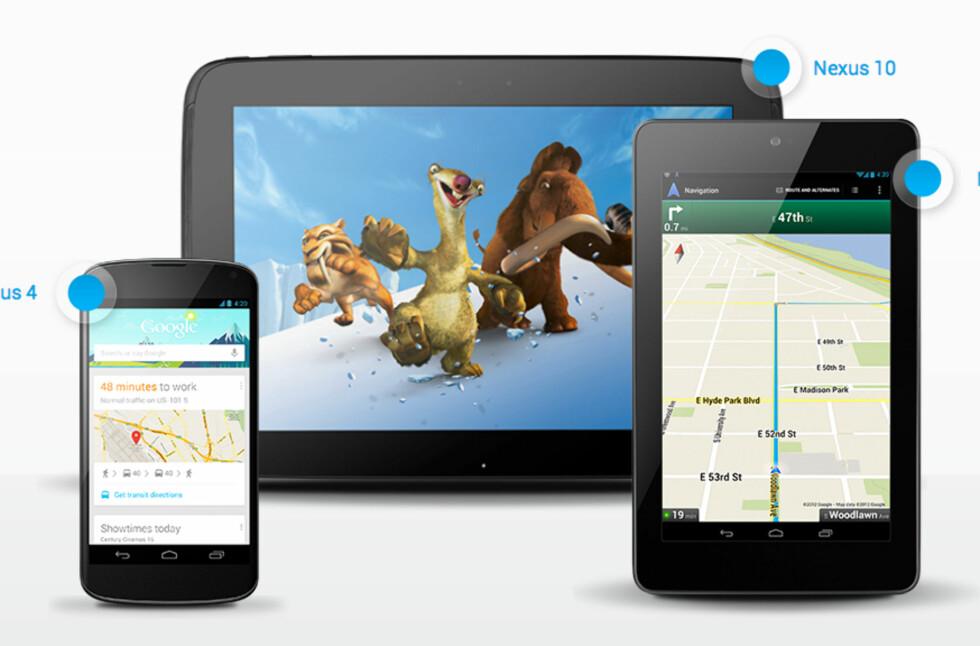Google har nå tre nye Nexus-enheter: Nexus 4 (telefon fra LG), Nexus 7 (nettbrett fra Asus) og nå Nexus 10 (nettbrett fra Samsung)