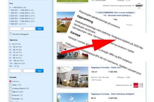 """Skroll ned til """"oppvarming"""" i annonse - eller i prospektet - og sjekk hvordan boligen er oppvarmet.  Foto: Finn.no/DinSide"""