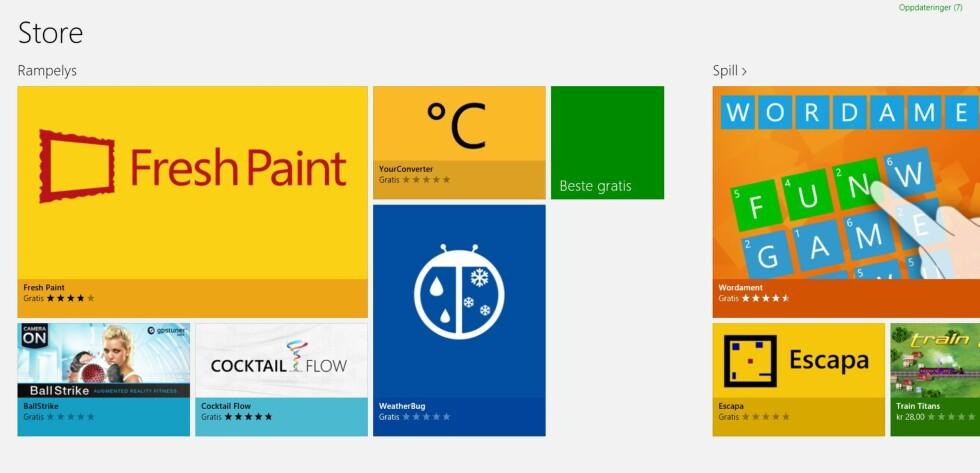 Windows Store fungerer kun i Windows 8, og det meste som finnes der er optimalisert for berøringsskjermer.