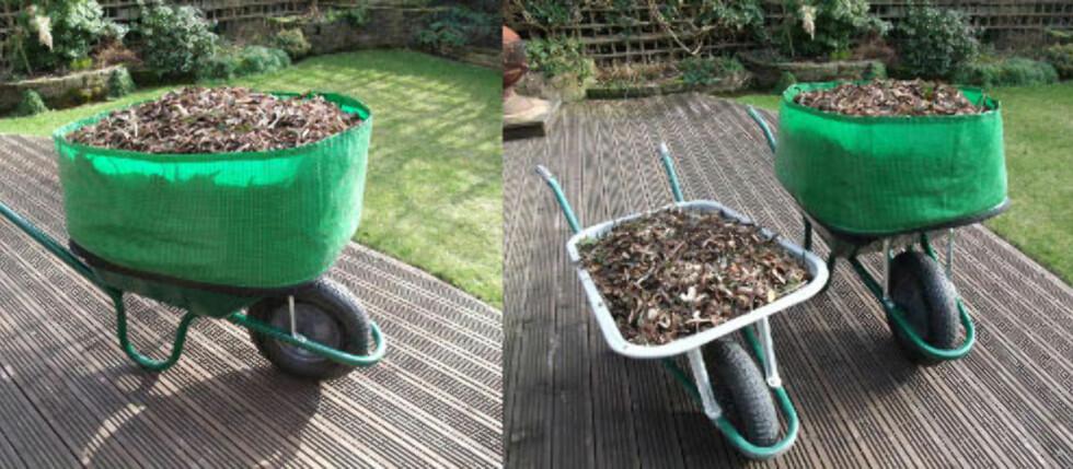 Den britiske hageoppfinnelsen Wheelbarrow Booster gjør trillebåren din MYE større, og kan spare mange turer frem og tilbake for deg med hage. Foto: Produsenten