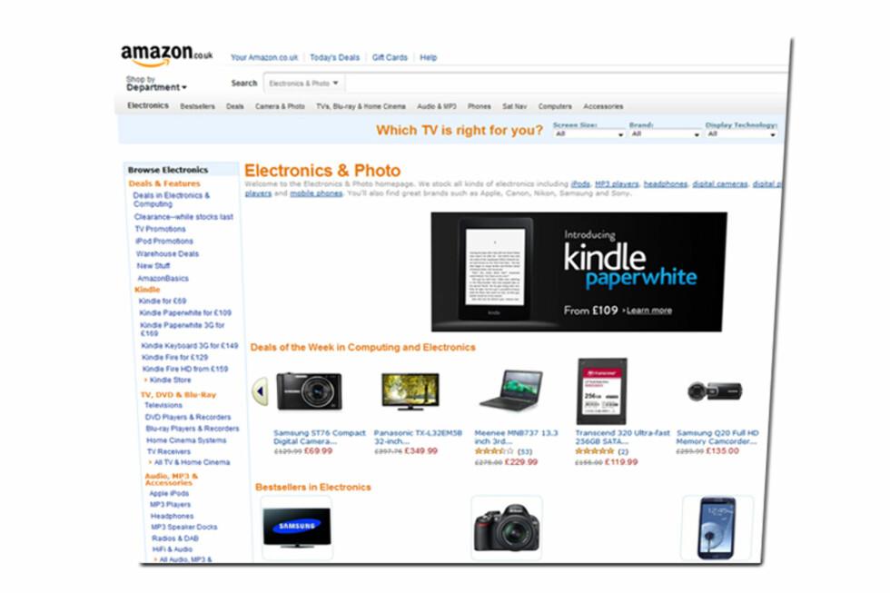 Mens Lizearle.com kommer best ut totalt sett, havner Amazon på tredjeplass.  Foto: amazon.co.uk