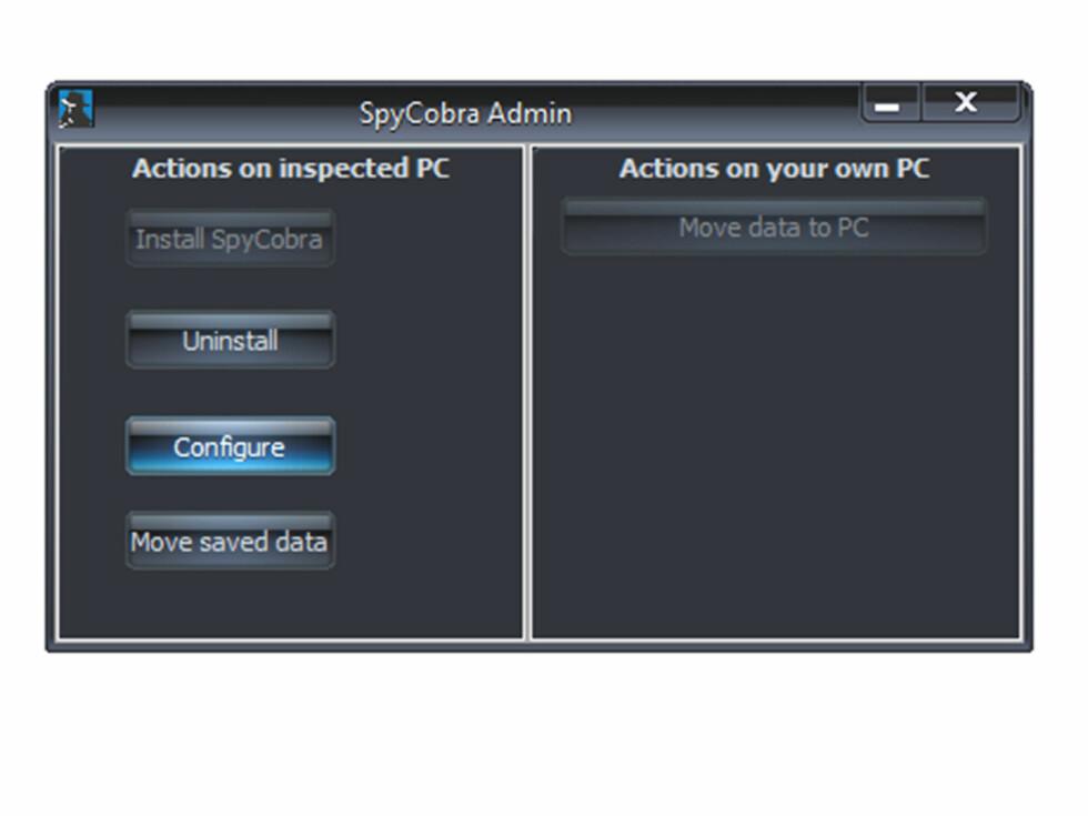 Spy Cobra Admin er programmet som ligger på minnepinnen, og installeres ved ett klikk.  Foto: Ole Petter Baugerød Stokke