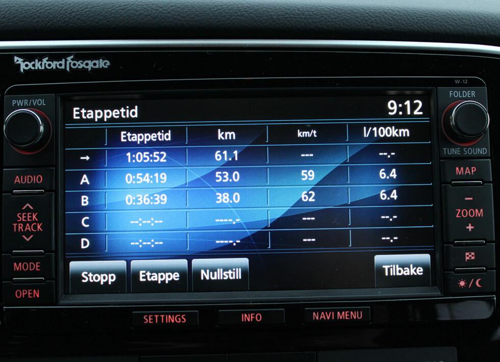 Eksempel på kjørelogg i multikommunikasjonssystemet. Her har vi kjørt på alle mulige måter og snittforbruket er høyst akseptabelt... Foto: Knut Moberg