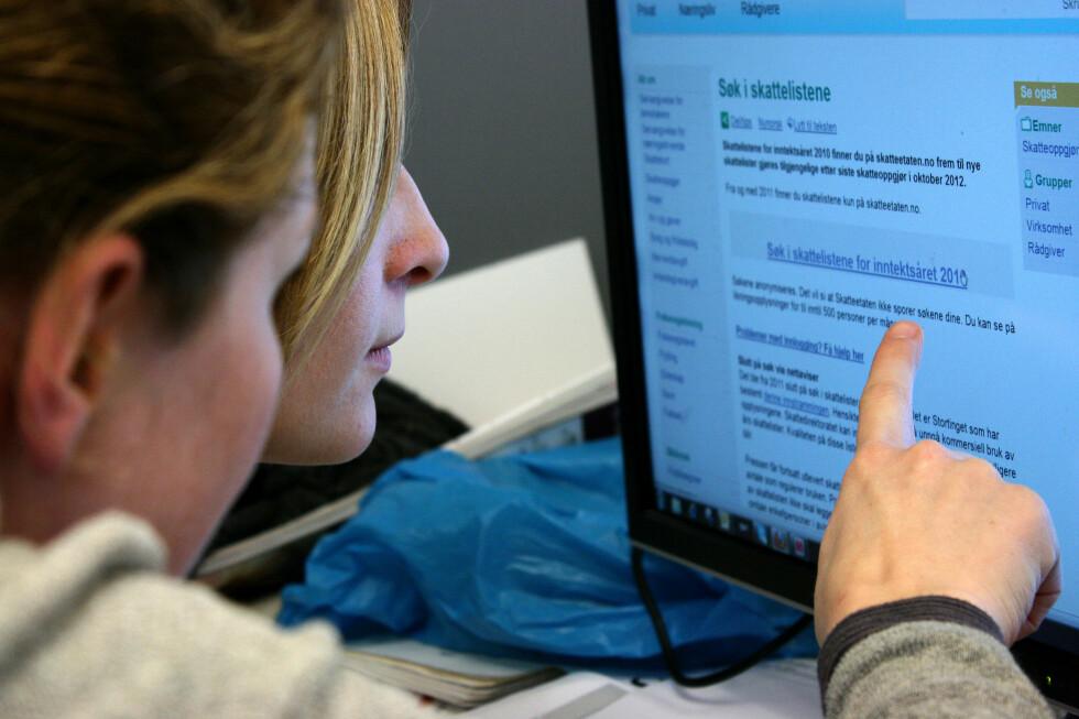 Har du MinID og tilgang til internett, kan du søke i ligningstallene for 2011 fra fredag 19. oktober. Foto: Ole Petter Stokke