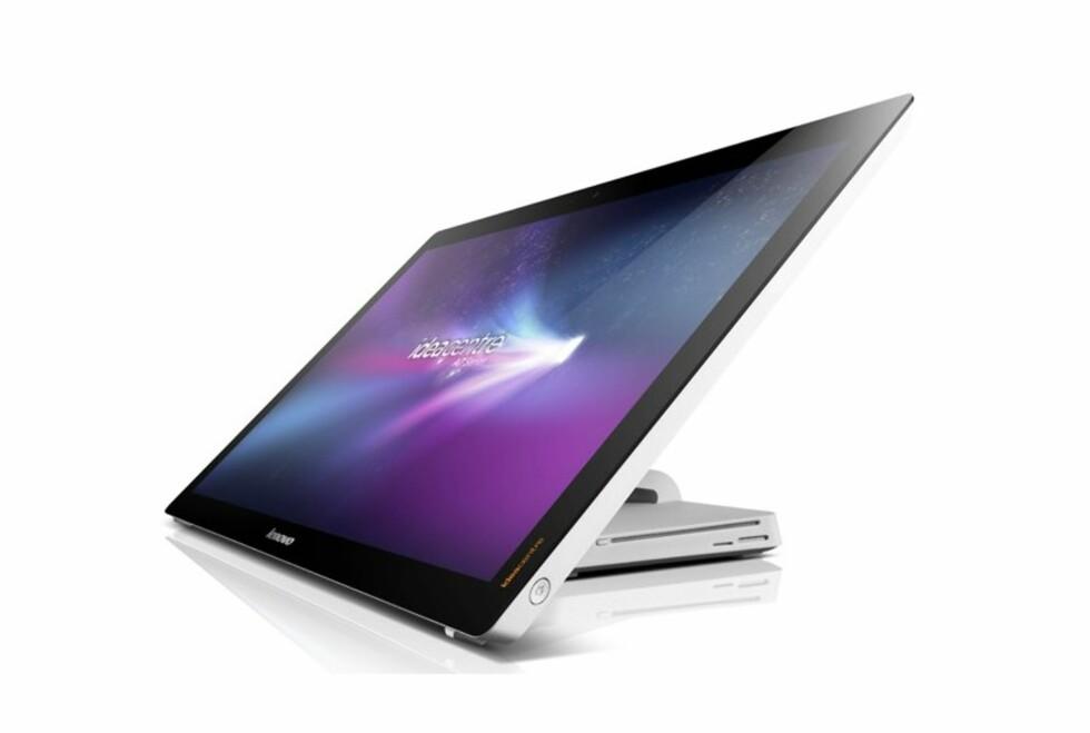 """Lenovo er ifølge Gartner verdens mest solgte PC-merker. Her representert ved IdeaCentre A720, en berøringsfølsom 27"""" skjerm med PC innebygd i foten. Foto: Lenovo"""