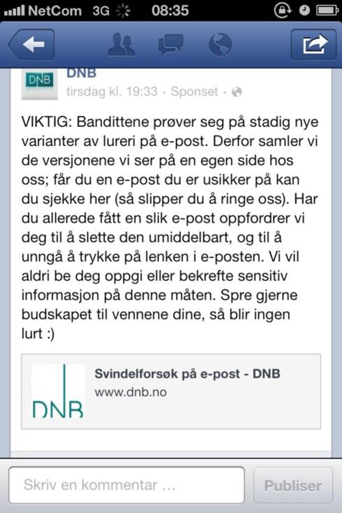 Liker du DNB på Facebook har du fått denne oppfordringen av banken. Foto: DinSide