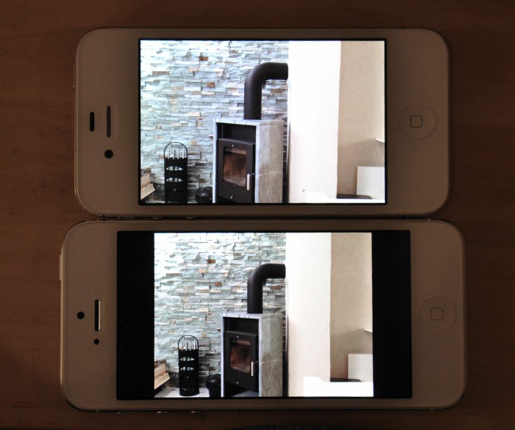 Som du ser på bildet, blir stillbildene større på iPhone 4s enn på iPhone 5.