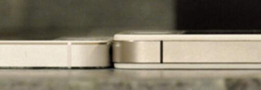 Det ser kanskje marginelt ut, men forskjellen i tykkelse og vekt kontra iPhone 4s er åpenbar.