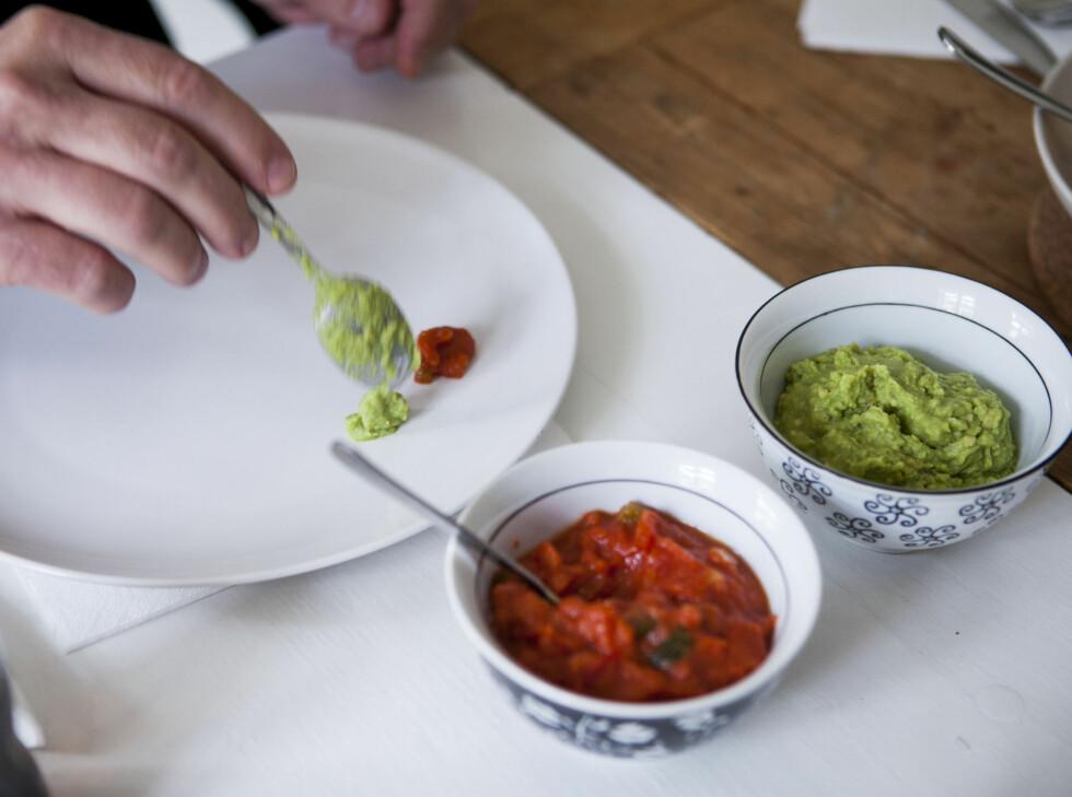 Tacosaus og guacamole fra Toro. Foto: Per Ervland