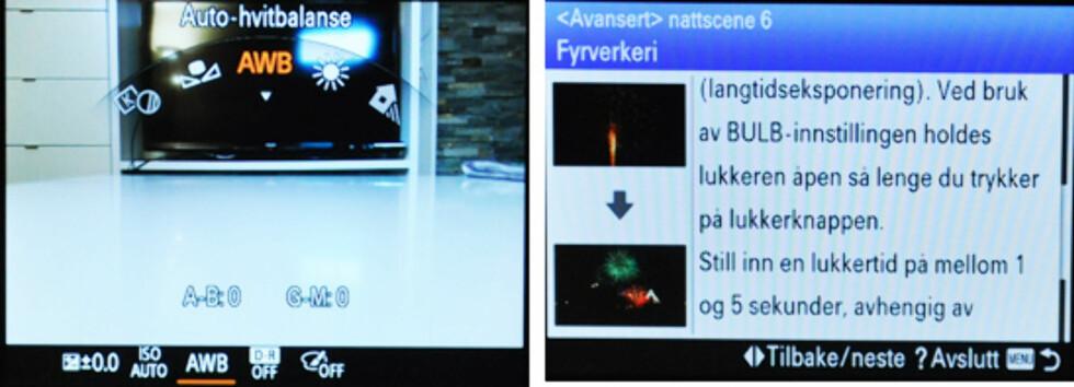 Til venstre: Funksjonsmenyen, som lar deg bruke fokusringen for kjapt å endre enkelte innstillinger. Til høyre: Eksempel på innbakt fotoguide; her hvordan du tar bilder av fyrverkeri.