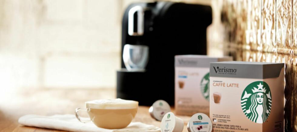 Med Starbucks' Verismo skal du få Starbuckskaffe hjemme på eget kjøkken. Men du må nok vente litt før maskinen eventuelt kommer til Norge. Foto: Business Wire
